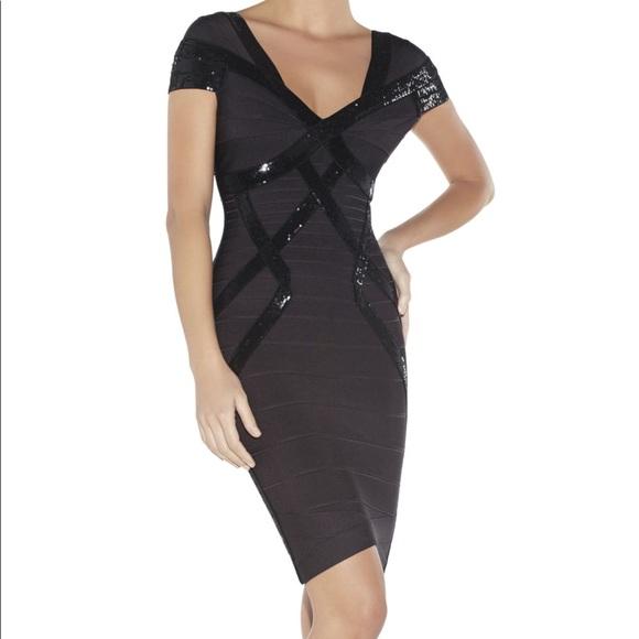2988d208854b6 Herve Leger Dresses | Black Bandage Sequin Dress | Poshmark